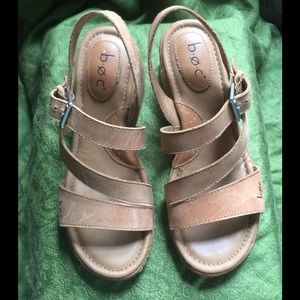 BOC Tan Leather Wedge Sandals Sz. 6